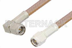 SMA Male to SMA Male Right Angle Cable 60 Inch Length Using RG400 Coax