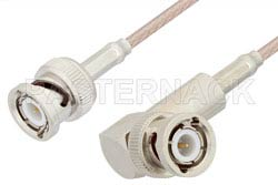 BNC Male to BNC Male Right Angle Cable 12 Inch Length Using 75 Ohm RG179 Coax