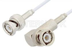 BNC Male to BNC Male Right Angle Cable 48 Inch Length Using RG188 Coax