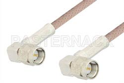 SMA Male Right Angle to SMA Male Right Angle Cable Using 95 Ohm RG180 Coax, RoHS