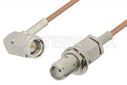 SMA Male Right Angle to SMA Female Bulkhead Cable Using RG178 Coax