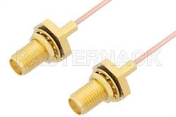 SMA Female Bulkhead to SMA Female Bulkhead Cable Using PE-047SR Coax