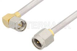 SMA Male to SMA Male Right Angle Cable Using PE-SR402AL Coax