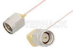 SMA Male to SMA Male Right Angle Cable Using PE-020SR Coax, RoHS