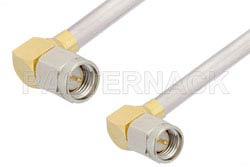 SMA Male Right Angle to SMA Male Right Angle Cable Using PE-SR402AL Coax