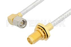 SMA Male Right Angle to SMA Female Bulkhead Cable Using PE-SR402FL Coax