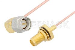 SMA Male Right Angle to SMA Female Bulkhead Cable Using PE-047SR Coax, RoHS
