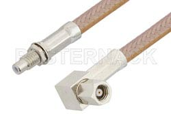 SMC Plug Right Angle to SMC Jack Bulkhead Cable Using RG400 Coax, RoHS