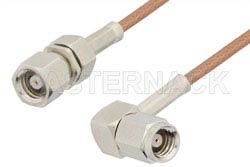 SMC Plug to SMC Plug Right Angle Cable Using RG178 Coax, RoHS