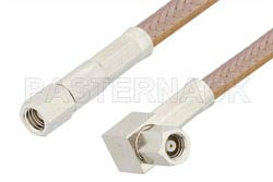 SMC Plug to SMC Plug Right Angle Cable Using RG400 Coax, RoHS