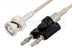 BNC Male to Banana Plug Cable 12 Inch Length Using RG316-DS Coax