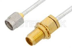 2.92mm Male to 2.92mm Female Bulkhead Cable Using PE-SR405FL Coax, LF Solder