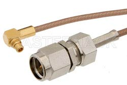 SMA Male to MMCX Plug Right Angle Cable Using RG178 Coax