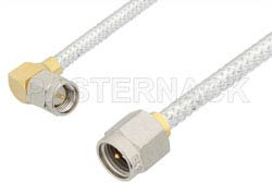 SMA Male to SMA Male Right Angle Cable Using PE-SR402FL Coax, RoHS