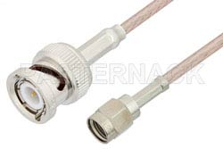 Reverse Polarity SMA Male to BNC Male Cable Using RG316 Coax, RoHS