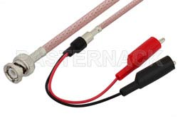 BNC Male to Alligator Clip Cable 36 Inch Length Using RG142 Coax