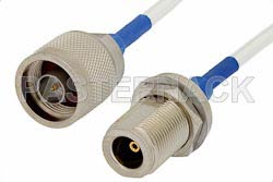 N Male to N Female Bulkhead Precision Cable Using 150 Series Coax, RoHS