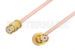 SMP Female to SMP Female Right Angle Cable Using PE-047SR Coax, RoHS