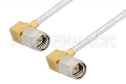 SMA Male Right Angle to SMA Male Right Angle Cable Using PE-SR405FL Coax, RoHS
