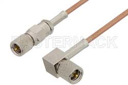 10-32 Male to 10-32 Male Right Angle Cable Using RG178 Coax, RoHS