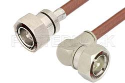 7/16 DIN Male to 7/16 DIN Male Right Angle Cable Using RG393 Coax