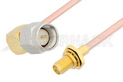 SMA Male Right Angle to SMA Female Bulkhead Cable Using RG402 Coax, RoHS