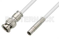 75 Ohm Mini SMB Plug to 75 Ohm BNC Male Cable Using 75 Ohm PE-B159-WH White Coax