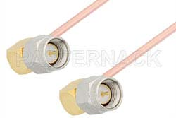 SMA Male Right Angle to SMA Male Right Angle Cable Using RG402 Coax, RoHS