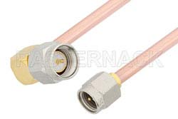 SMA Male to SMA Male Right Angle Cable Using RG402 Coax, RoHS