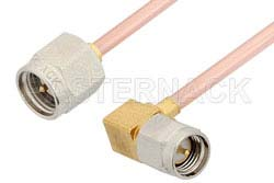 SMA Male to SMA Male Right Angle Cable Using RG405 Coax