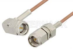 SMA Male to SMA Male Right Angle Cable Using RG178 Coax, RoHS