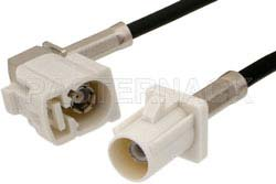 White FAKRA Plug to FAKRA Jack Right Angle Cable Using RG174 Coax
