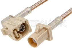 Beige FAKRA Plug to FAKRA Jack Right Angle Cable Using RG316 Coax