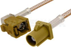 Curry FAKRA Plug to FAKRA Jack Right Angle Cable Using RG316 Coax