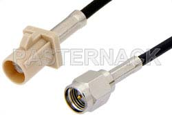 SMA Male to Beige FAKRA Plug Cable Using RG174 Coax