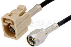 SMA Male to Beige FAKRA Jack Cable Using PE-C100-LSZH Coax