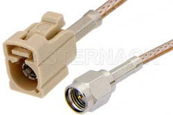 SMA Male to Beige FAKRA Jack Cable Using RG316 Coax