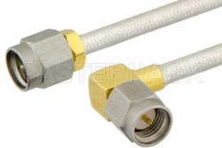 SMA Male to SMA Male Right Angle Semi-Flexible Precision Cable Using PE-SR402FL Coax, RoHS