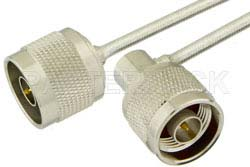 N Male to N Male Right Angle Semi-Flexible Precision Cable Using PE-SR402FL Coax, LF Solder, RoHS