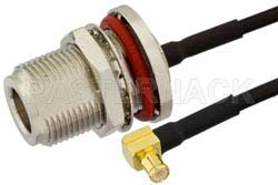 N Female Bulkhead to MCX Plug Right Angle Semi-Flexible Precision Cable Using PE-SR405FLJ Coax, RoHS