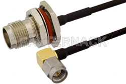 SMA Male Right Angle to TNC Female Bulkhead Cable Using PE-SR405FLJ Coax