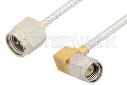 SMA Male to SMA Male Right Angle Cable Using PE-SR405FL Coax, RoHS
