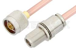 N Male to N Female Bulkhead Cable Using RG401 Coax, RoHS