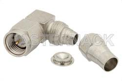 SMA Male Right Angle Connector Clamp/Solder Attachment For RG58, RG55, RG142, RG223, RG400