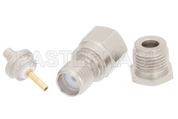 SMA Female Connector Clamp/Solder Attachment for RG316, RG174, RG188, PE-B100, PE-C100, 0.100 inch, LMR-100