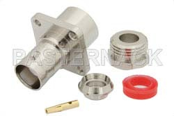BNC Female Connector Clamp/Solder Attachment 4 Hole Flange For RG58, RG55, RG141, RG142, RG223, RG400, .500 inch Threaded Hole Spacing