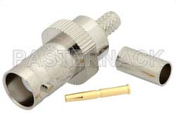 BNC Female Connector Crimp/Solder Attachment for PE-C195, PE-P195, RG58, RG141, RG303, LMR-195, 0.195 inch