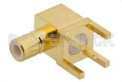 SMB Jack Right Angle Connector Solder Attachment Thru Hole PCB, .200 inch x .067 inch Hole Spacing