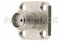 SMA Female Connector Field Replaceable Attachment 4 Hole Flange 0.020 inch Pin, .500 inch Flange Size