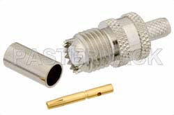 Mini UHF Female Connector Crimp/Solder Attachment for RG58, RG303, RG141, PE-C195, PE-P195, LMR-195, 0.195 inch